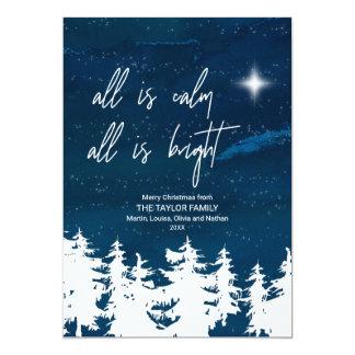 Cartão A noite estrelado toda é calma que tudo é Natal
