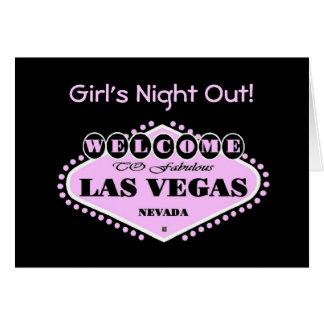 Cartão A noite menina cor-de-rosa de Las Vegas logotipo
