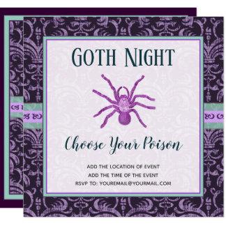 Cartão A noite o Dia das Bruxas do gótico do Tarantula