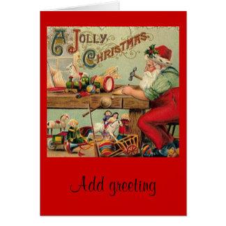 Cartão A oficina do papai noel do natal vintage brinca