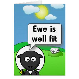 Cartão A ovelha é bem apta