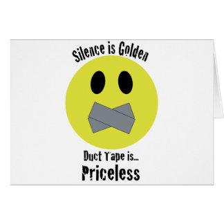 Cartão A palavra é de prata e o silêncio é de ouro a fita