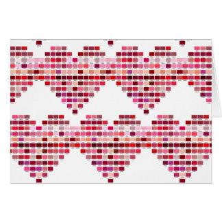 Cartão A paleta de cores vermelha, coração deu forma a