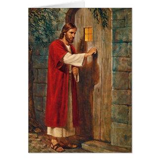 Cartão A páscoa Jesus bate na porta