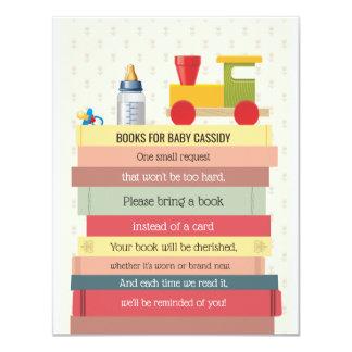 Cartão A pilha de livro traz um chá de fraldas do livro