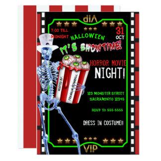 Cartão A pipoca de esqueleto Eyeballs a noite de cinema