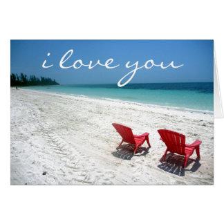 Cartão a praia ama para sempre