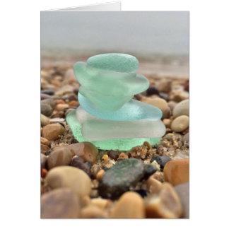 Cartão A praia bonita de Seaglass da cerceta que pensa de