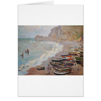 Cartão A praia em Etretat - Claude Monet