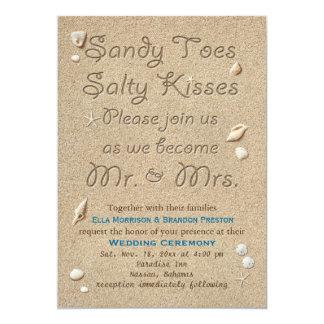 Cartão A praia Sandy Toes beijos salgados que Wedding o