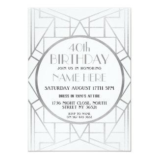 Cartão a prata de Gatsby do aniversário do art deco dos
