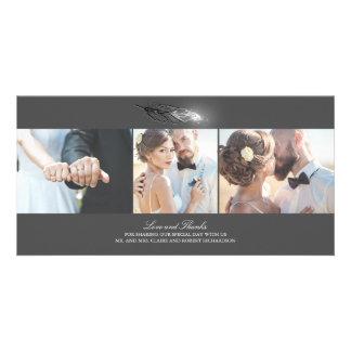 Cartão A prata mergulhou o casamento elegante da pena