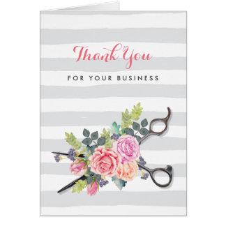 Cartão A prata Scissors o cabeleireiro floral cor-de-rosa