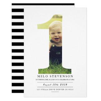 Cartão A primeira festa de aniversário moderna convida