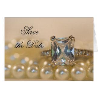 Cartão A princesa anel de diamante e pérolas salvar a