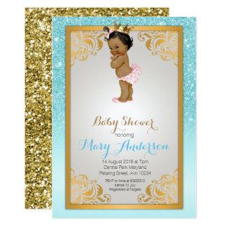 Cartão A princesa azul chá de fraldas do ouro convida