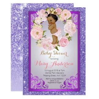 Cartão A princesa chá de fraldas do afro-americano