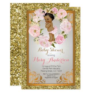 Cartão A princesa chá de fraldas do ouro convida