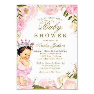 Cartão A princesa cor-de-rosa floral do bebê é um chá de