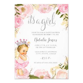 Cartão A princesa do bebê é um chá de fraldas do rosa do