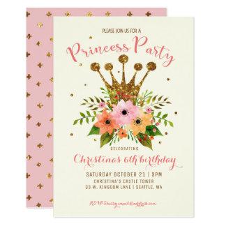Cartão A princesa Partido Brilho Floral Coroa Bday