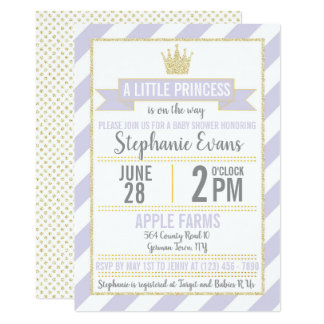 Cartão A princesa roxa chá de fraldas do brilho do ouro