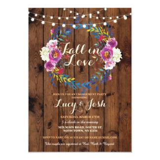 Cartão A queda no noivado de madeira da grinalda do amor