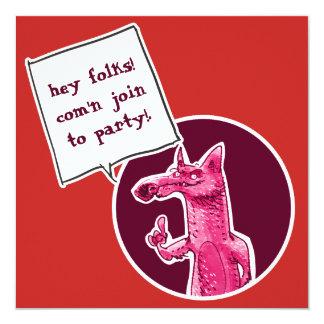 Cartão a raposa engraçada convida para party desenhos
