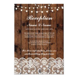Cartão A recepção de casamento rústica carda as luzes de