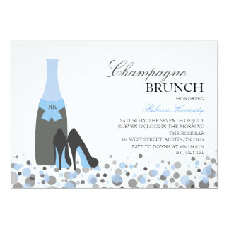Cartão A refeição matinal azul de Champagne do chá de