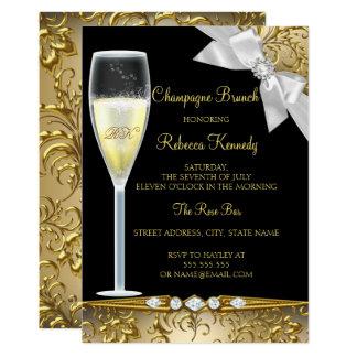 Cartão A refeição matinal branca de Champagne do ouro