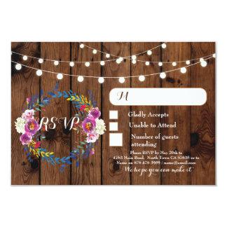 Cartão A resposta de madeira do casamento floral de RSVP