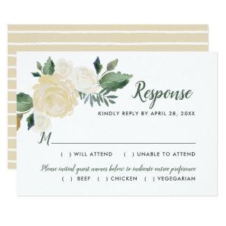 Cartão A resposta do casamento da aguarela carda flores