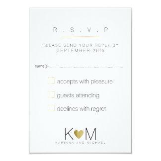 Cartão a resposta, responde casamento elegante, branco &