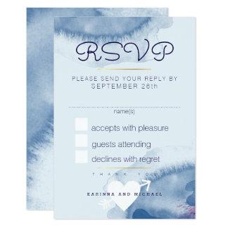 Cartão a resposta, responde rsvp. casamento azul da