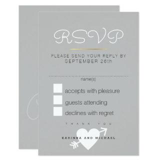 Cartão a resposta, responde rsvp. casamento cinzento