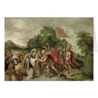 Cartão A reunião de Abraham e de Melchizedek