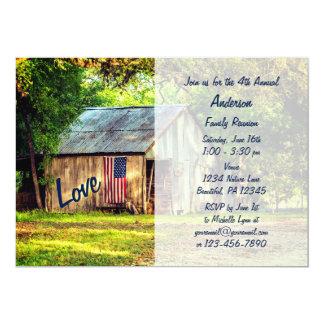 Cartão A reunião de família da bandeira americana do