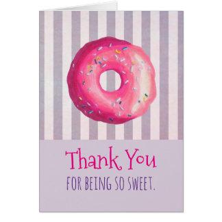 Cartão A rosquinha cor-de-rosa com polvilha o obrigado