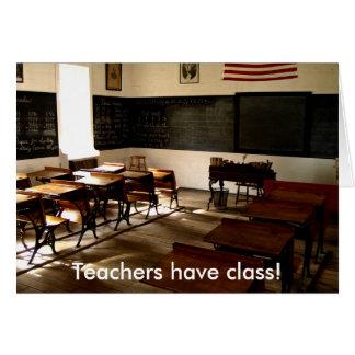 Cartão a sala da velha escola, professores tem a classe!