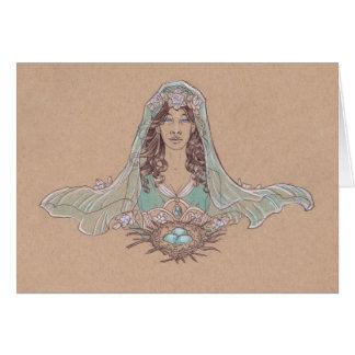 Cartão A senhora do desenho de Nouveau da arte da