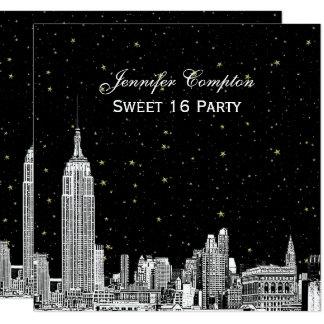Cartão A skyline de NYC gravou o doce QUADRADO 16 da cor