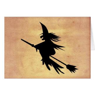 Cartão A sombra da bruxa do vôo desvaneceu-se o papel   o