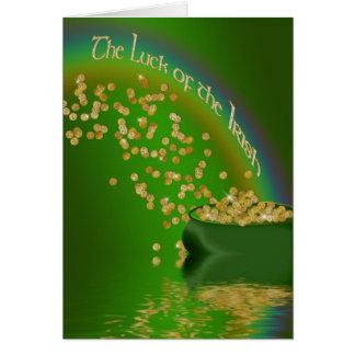 Cartão A sorte do irlandês - pote de ouro/arco-íris