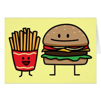Cartão A sucata do bolo do fast food do Hamburger e das