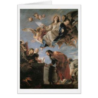 Cartão A suposição do Virgin, 1673 (óleo em canvas)