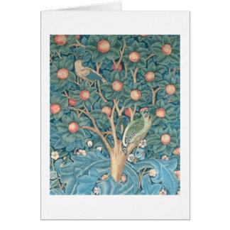 Cartão A tapeçaria do pica-pau, detalhe dos woodpeckers