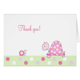 Cartão A tartaruga e o caracol cor-de-rosa dobraram o