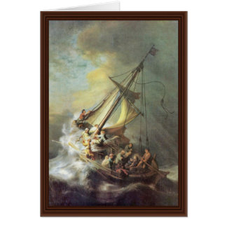 Cartão A tempestade no mar de Galilee. Por Rembrandt Van