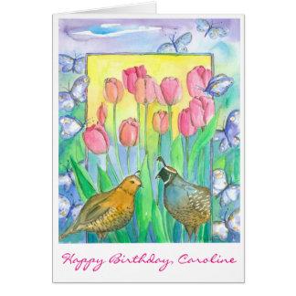 Cartão A tulipa cor-de-rosa dos pássaros das codorniz